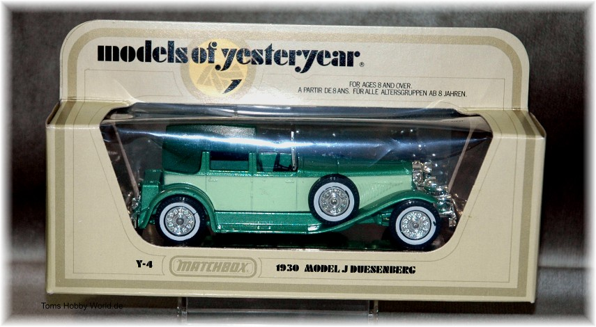 models of yesteryear Y-4 Model J Duesenberg Town Car